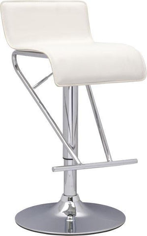 "Chintaly 6122-AS-WHT Pneumatic Gas Lift Adjustable Height Swivel Stool - 21"" - 31"" - BarstoolDirect.com"