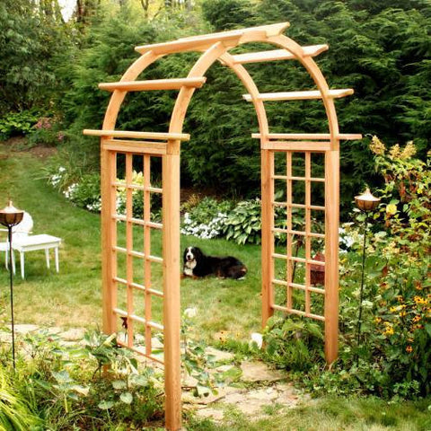 "Creekwine Design EY42ARCVD Cedar Arched Arbor - 42"" Opening - Peazz Furniture"