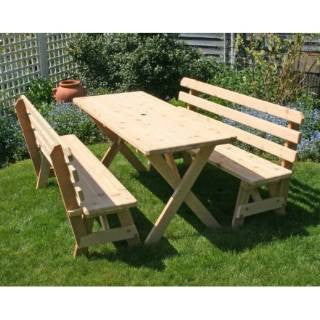 "Creekwine Design WF27WCLTBB4CVD Cedar 27"" Wide 4' Cross Legged Picnic Table with (2) 4' Backed Benches - Peazz Furniture"