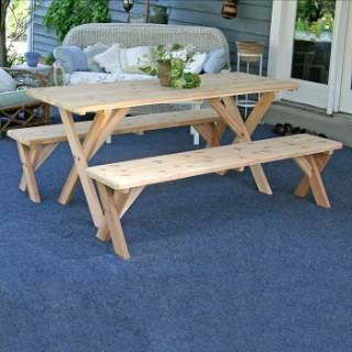 "Creekwine Design WF27WCLTCB6CVD Red Cedar 27"" Wide 6' Backyard Bash Cross Legged Picnic Table w/ Detached Benches - Peazz Furniture"