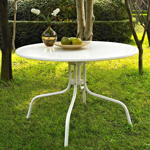 "Bayden Hill CO1012A-WH Griffith Metal 40"" Dining Table in White Finish - Peazz.com"
