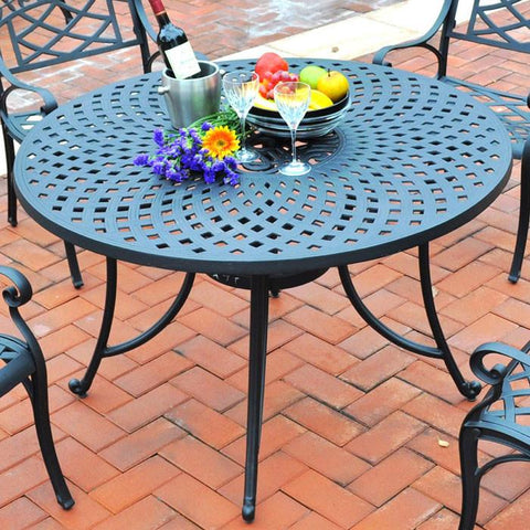 "Bayden Hill CO600148-BK Sedona 48"" Cast Aluminum Dining Table in Charcoal Black Finish - Peazz.com"