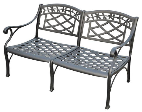 Bayden Hill CO6104-BK Sedona Cast Aluminum Loveseat in Charcoal Black Finish - Peazz.com