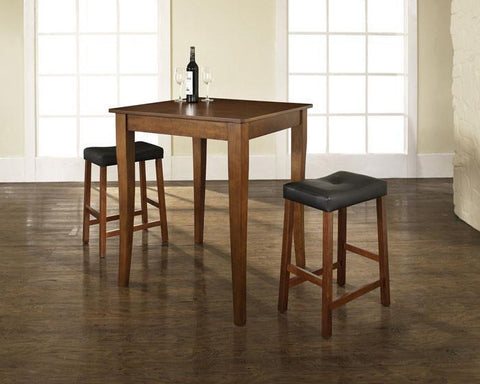 Bayden Hill KD320004CH 3 Piece Pub Dining Set with Cabriole Leg and Upholstered Saddle Stools in Classic Cherry  Finish - BarstoolDirect.com