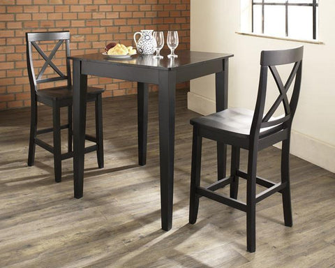 Bayden Hill KD320005BK 3 Piece Pub Dining Set with Tapered Leg and X-Back Stools in Black Finish - BarstoolDirect.com