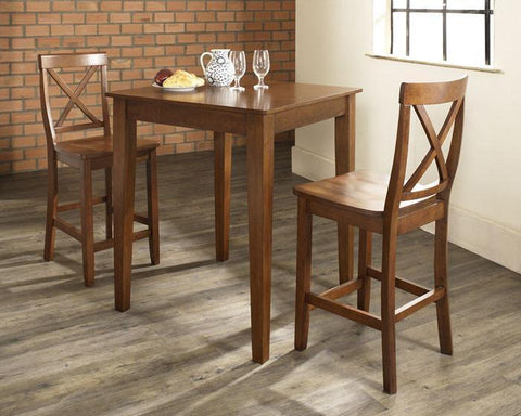 Bayden Hill KD320005CH 3 Piece Pub Dining Set with Tapered Leg and X-Back Stools in Classic Cherry  Finish - BarstoolDirect.com