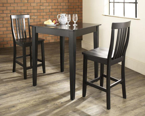 Bayden Hill KD320007BK 3 Piece Pub Dining Set with Tapered Leg and School House Stools in Black Finish - BarstoolDirect.com
