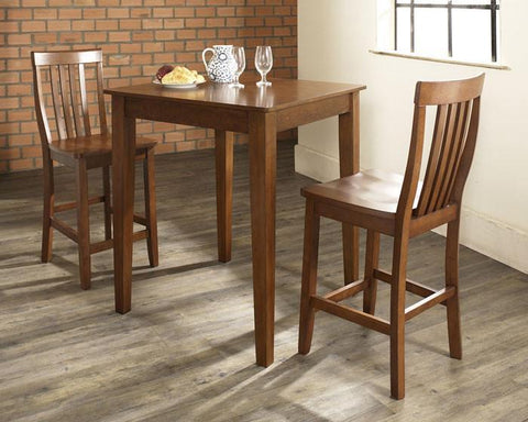 Bayden Hill KD320007CH 3 Piece Pub Dining Set with Tapered Leg and School House Stools in Classic Cherry  Finish - BarstoolDirect.com