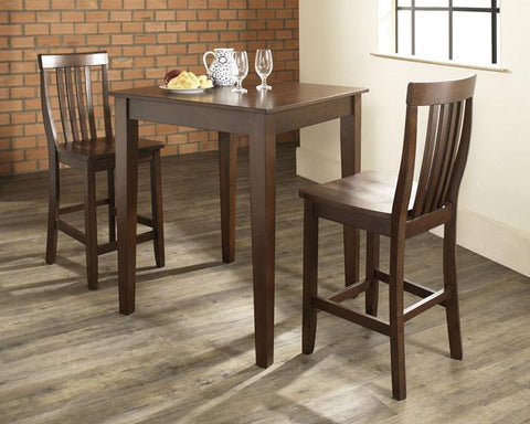 Bayden Hill KD320007MA 3 Piece Pub Dining Set with Tapered Leg and School House Stools in Vintage Mahogany  Finish - BarstoolDirect.com
