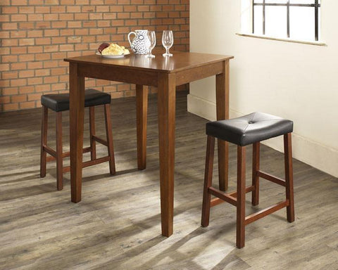 Bayden Hill KD320008CH 3 Piece Pub Dining Set with Tapered Leg and Upholstered Saddle Stools in Classic Cherry  Finish - BarstoolDirect.com