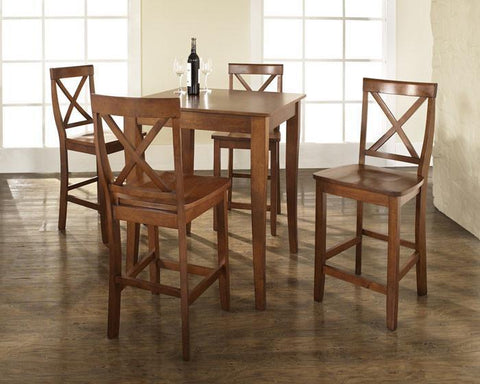 Bayden Hill KD520001CH 5 Piece Pub Dining Set with Cabriole Leg and X-Back Stools in Classic Cherry Finish - BarstoolDirect.com