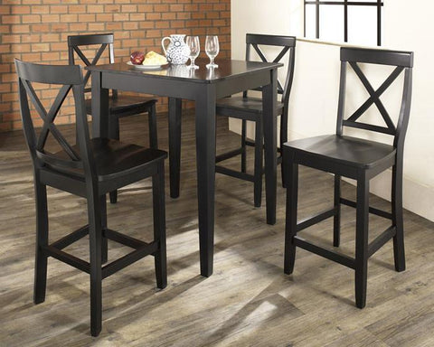Bayden Hill KD520005BK 5 Piece Pub Dining Set with Tapered Leg and X-Back Stools in Black Finish - BarstoolDirect.com