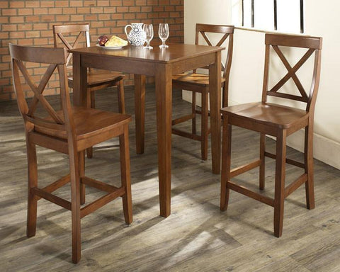 Bayden Hill KD520005CH 5 Piece Pub Dining Set with Tapered Leg and X-Back Stools in Classic Cherry  Finish - BarstoolDirect.com