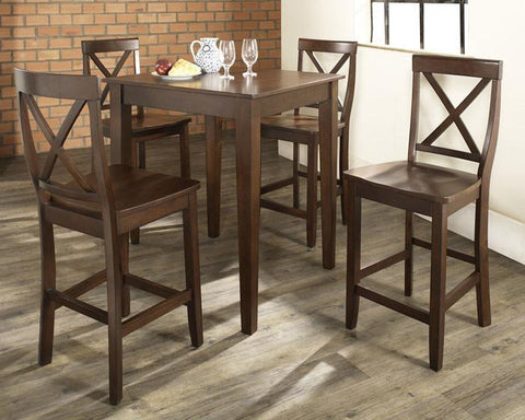 Bayden Hill KD520005MA 5 Piece Pub Dining Set with Tapered Leg and X-Back Stools in Vintage Mahogany  Finish - BarstoolDirect.com