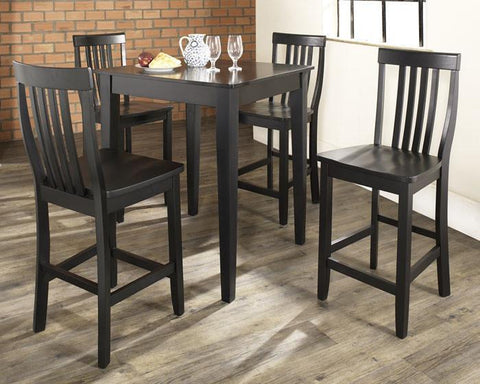 Bayden Hill KD520007BK 5 Piece Pub Dining Set with Tapered Leg and School House Stools in Black Finish - BarstoolDirect.com