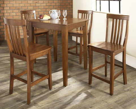 Bayden Hill KD520007CH 5 Piece Pub Dining Set with Tapered Leg and School House Stools in Classic Cherry  Finish - BarstoolDirect.com