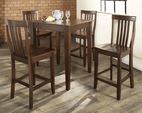 Bayden Hill KD520007MA 5 Piece Pub Dining Set with Tapered Leg and School House Stools in Vintage Mahogany  Finish - BarstoolDirect.com