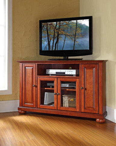 "Bayden Hill KF10006ACH Alexandria 48"" Corner TV Stand in Classic Cherry Finish - Peazz.com"