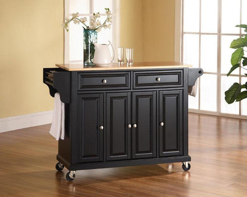 Bayden Hill KF30001EBK Natural Wood Top Kitchen Cart/Island in Black Finish - Peazz.com