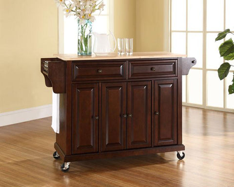 Bayden Hill KF30001EMA Natural Wood Top Kitchen Cart/Island in Vintage Mahogany Finish - Peazz.com