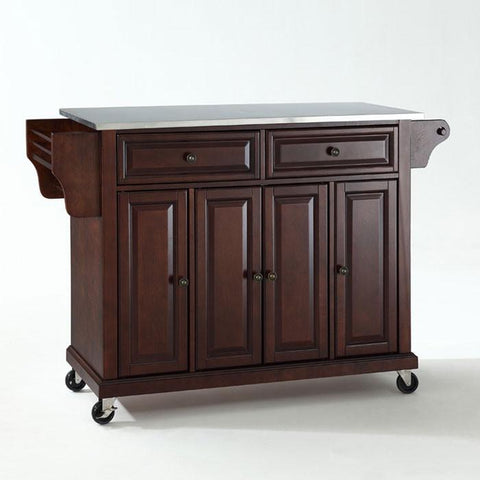 Bayden Hill KF30002EMA Stainless Steel Top Kitchen Cart/Island in Vintage Mahogany Finish - Peazz.com