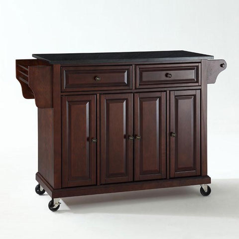 Bayden Hill KF30004EMA Solid Black Granite Top Kitchen Cart/Island in Vintage Mahogany Finish - Peazz.com