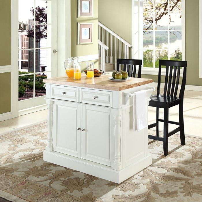 Bayden Hill Kf300062wh Butcher Block Top Kitchen Island In White Finish With 24  Black School House Stools