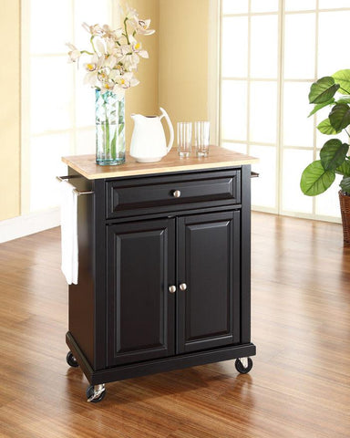 Bayden Hill KF30021EBK Natural Wood Top Portable Kitchen Cart/Island in Black Finish - Peazz.com