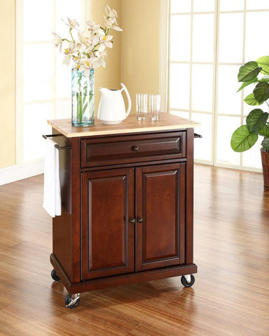 Bayden Hill KF30021EMA Natural Wood Top Portable Kitchen Cart/Island in Vintage Mahogany Finish - Peazz.com