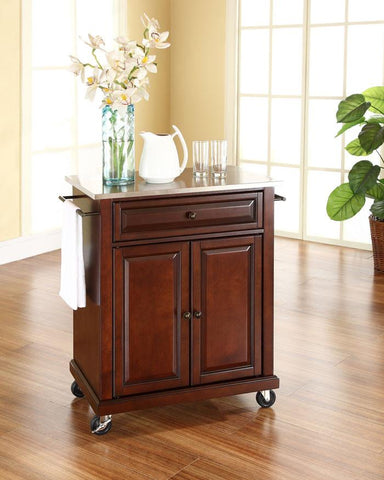 Bayden Hill KF30022EMA Stainless Steel Top Portable Kitchen Cart/Island in Vintage Mahogany Finish - Peazz.com