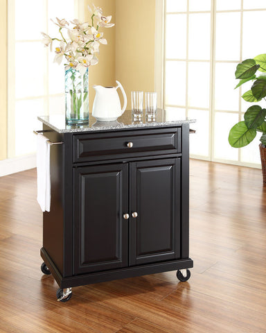 Crosley Furniture KF30023EBK Solid Granite Top Portable Kitchen Cart/Island in Black Finish - Peazz Furniture