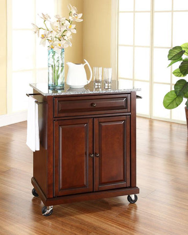 Bayden Hill KF30023EMA Solid Granite Top Portable Kitchen Cart/Island in Vintage Mahogany Finish - Peazz.com
