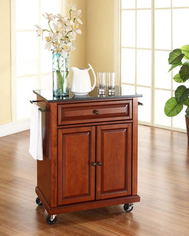 Bayden Hill KF30024ECH Solid Black Granite Top Portable Kitchen Cart/Island in Classic Cherry Finish - Peazz.com