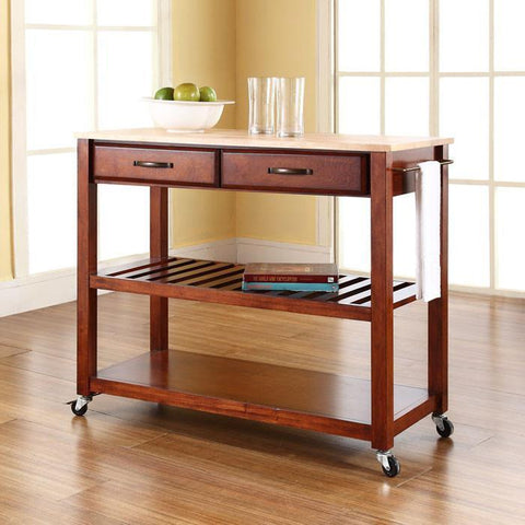 Bayden Hill KF30051CH Natural Wood Top Kitchen Cart/Island With Optional Stool Storage in Classic Cherry Finish - BarstoolDirect.com
