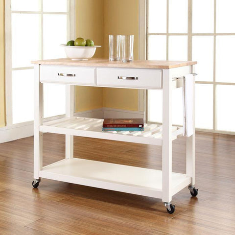 Bayden Hill KF30051WH Natural Wood Top Kitchen Cart/Island With Optional Stool Storage in White Finish - BarstoolDirect.com