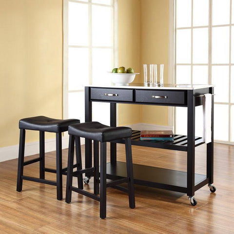 "Bayden Hill KF300524BK Stainless Steel Top Kitchen Cart/Island in Black Finish With 24"" Black Upholstered Saddle Stools - BarstoolDirect.com"