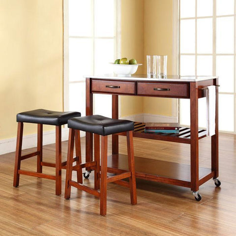 "Bayden Hill KF300524CH Stainless Steel Top Kitchen Cart/Island in Classic Cherry Finish With 24"" Cherry Upholstered Saddle Stools - BarstoolDirect.com"