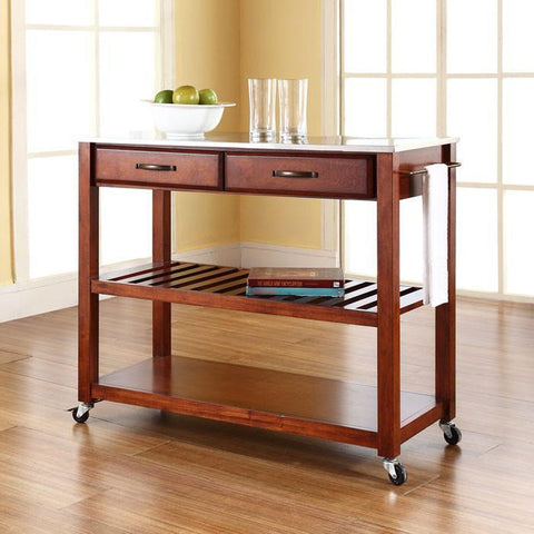 Bayden Hill KF30052CH Stainless Steel Top Kitchen Cart/Island With Optional Stool Storage in Classic Cherry Finish - BarstoolDirect.com