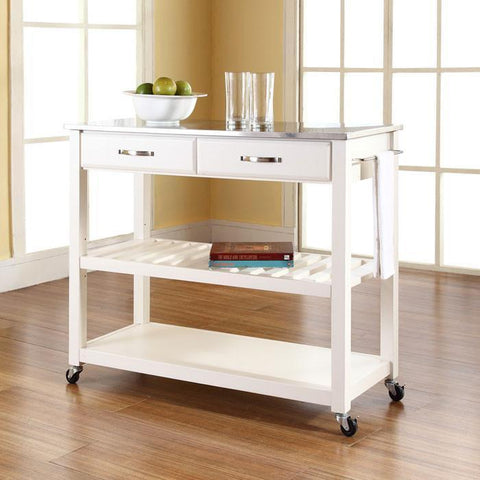 Bayden Hill KF30052WH Stainless Steel Top Kitchen Cart/Island With Optional Stool Storage in White Finish - BarstoolDirect.com