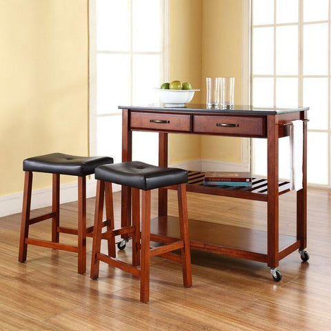 "Bayden Hill KF300544CH Solid Black Granite Top Kitchen Cart/Island in Classic Cherry Finish With 24"" Cherry Upholstered Saddle Stools - BarstoolDirect.com"