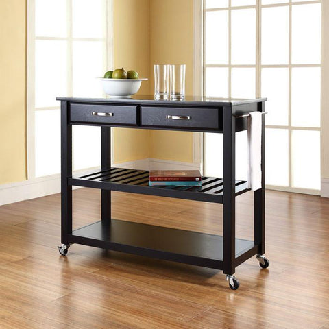 Bayden Hill KF30054BK Solid Black Granite Top Kitchen Cart/Island With Optional Stool Storage in Black Finish - BarstoolDirect.com