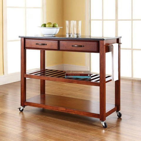 Bayden Hill KF30054CH Solid Black Granite Top Kitchen Cart/Island With Optional Stool Storage in Classic Cherry Finish - BarstoolDirect.com