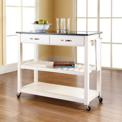 Bayden Hill KF30054WH Solid Black Granite Top Kitchen Cart/Island With Optional Stool Storage in White Finish - BarstoolDirect.com