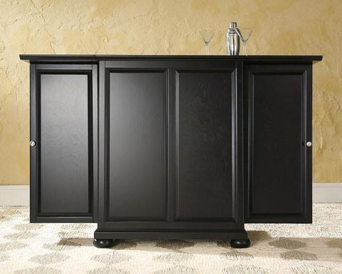 Bayden Hill KF40001ABK Alexandria Expandable Bar Cabinet in Black Finish - Peazz.com