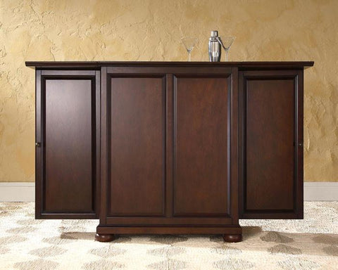 Bayden Hill KF40001AMA Alexandria Expandable Bar Cabinet in Vintage Mahogany Finish - Peazz.com