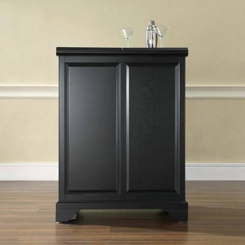 Bayden Hill LaFayette Expandable Bar Cabinet in Black Finish - Peazz.com