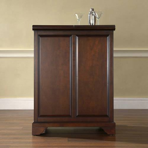 Bayden Hill LaFayette Expandable Bar Cabinet in Vintage Mahogany Finish - Peazz.com