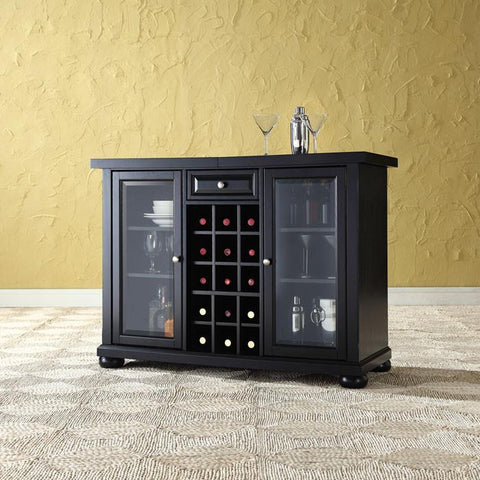 Bayden Hill KF40002ABK Alexandria Sliding Top Bar Cabinet in Black Finish - Peazz.com