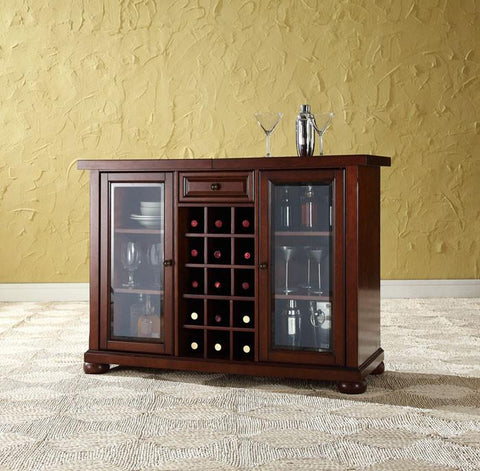 Bayden Hill KF40002AMA Alexandria Sliding Top Bar Cabinet in Vintage Mahogany Finish - Peazz.com