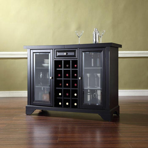 Bayden Hill KF40002BBK LaFayette Sliding Top Bar Cabinet in Black Finish - Peazz.com